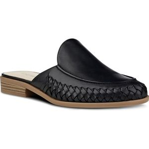 Nine West Juanita Mule Slide Black Leather 7.5